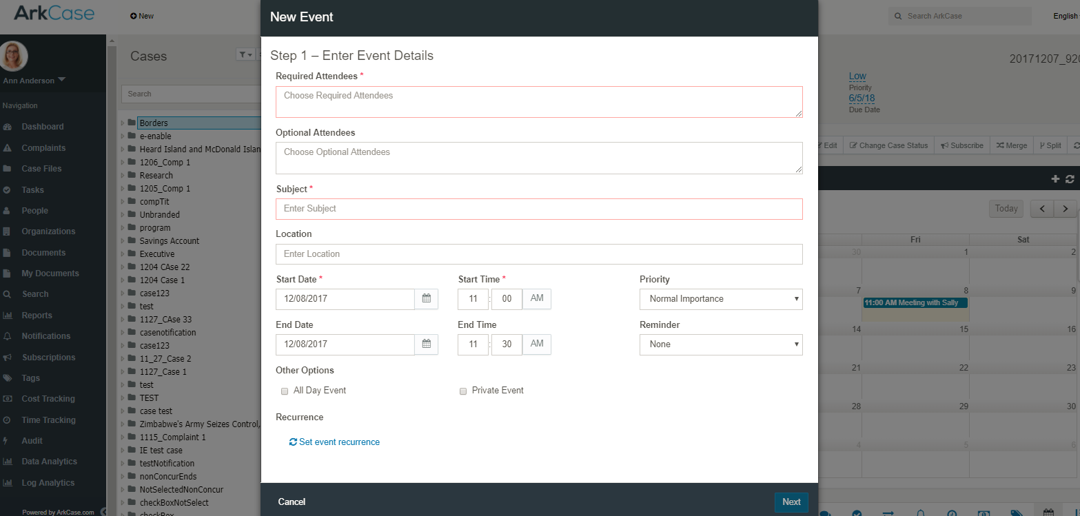 ArkCase v3.2.0 Enhanced Calendar Functionality