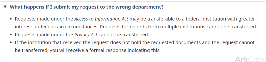 What happens if i submit my request to the wrong department