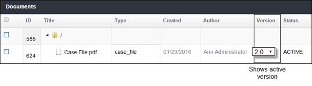 Change the active version of a file