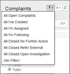 Filter the Complaint List