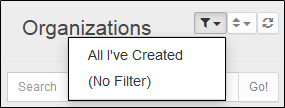 Filter the list of Organizations