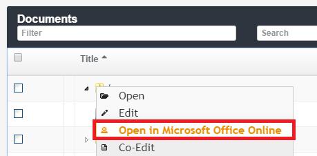 Open in Microsoft Office Online