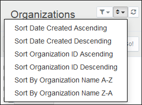 Sort the list of Organizations