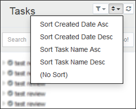 Sort the list of tasks