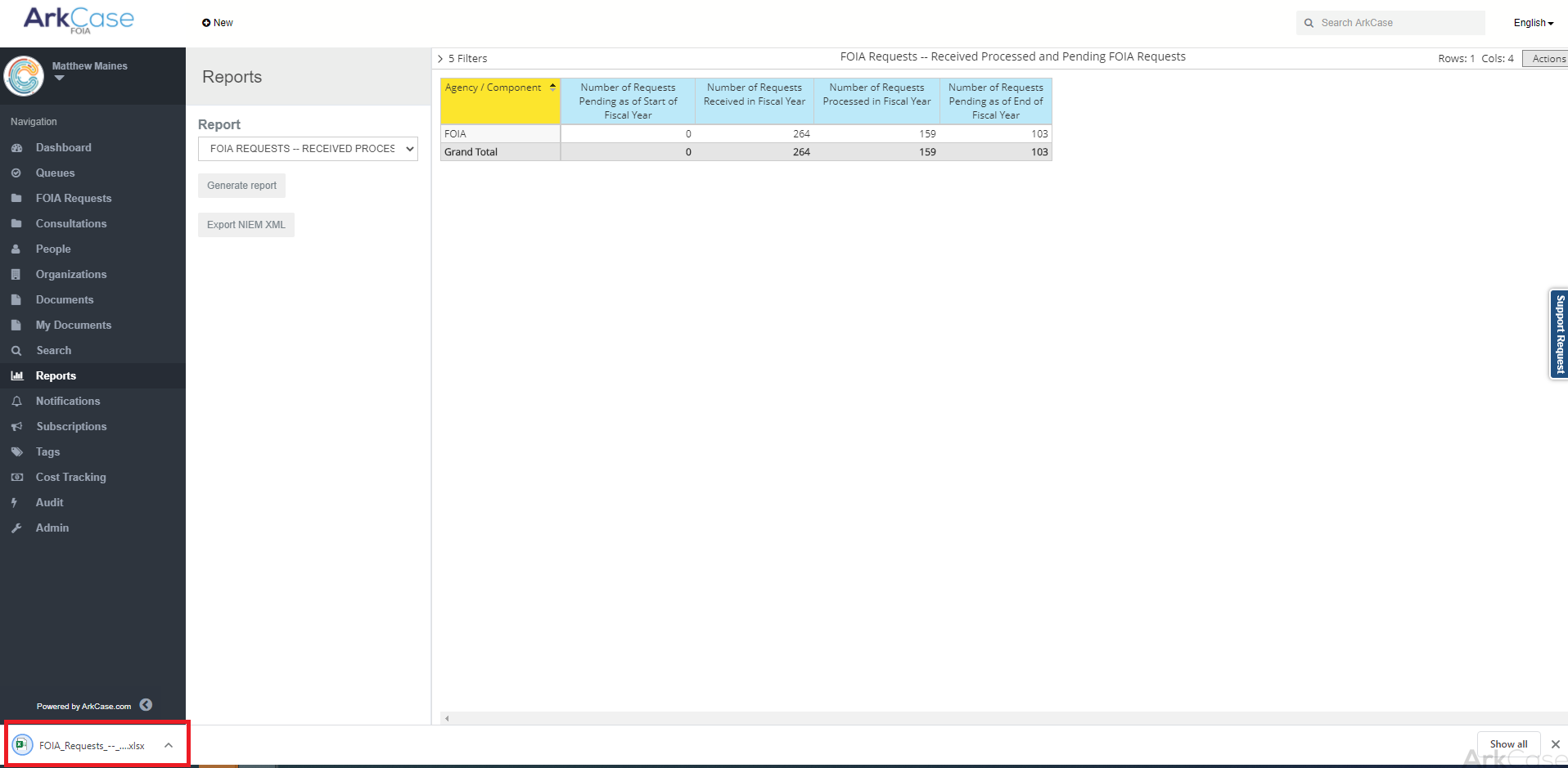 Then the report will be exported in Excel format