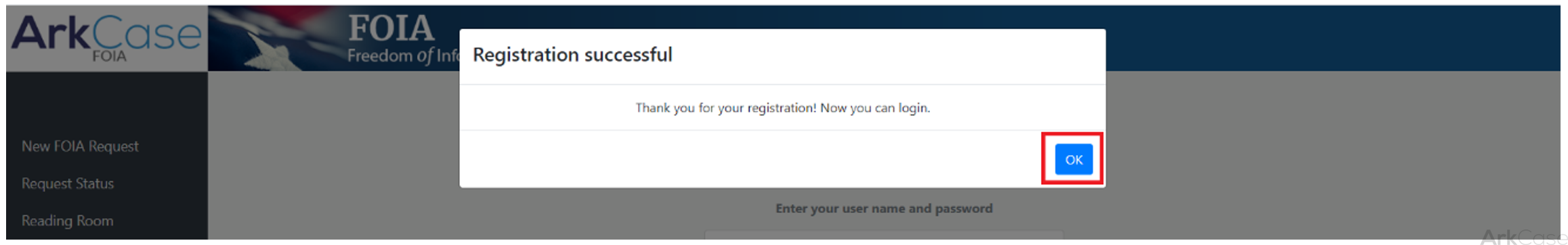 registration successful message