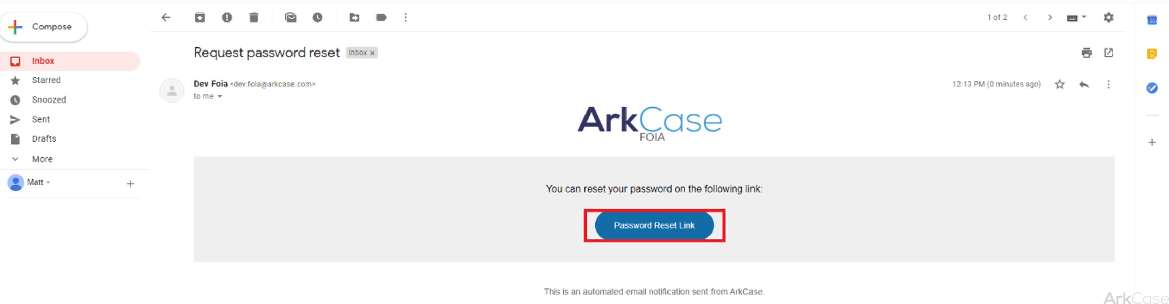 request password reset